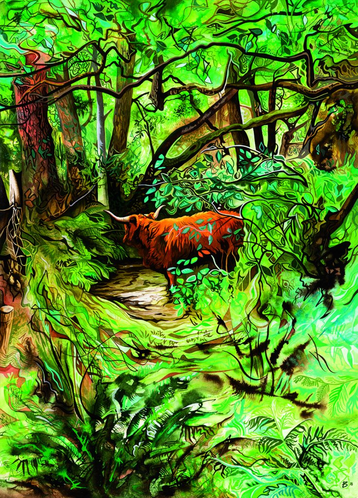 Acrylic painting of a highland cow in a wooded landscape