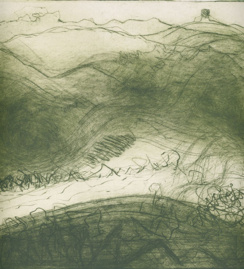 Etching of a hilly landscape – in green