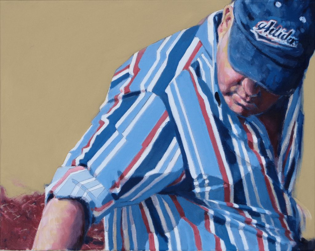 An oil painting of a man in a striped shirt and baseball cap, looking down