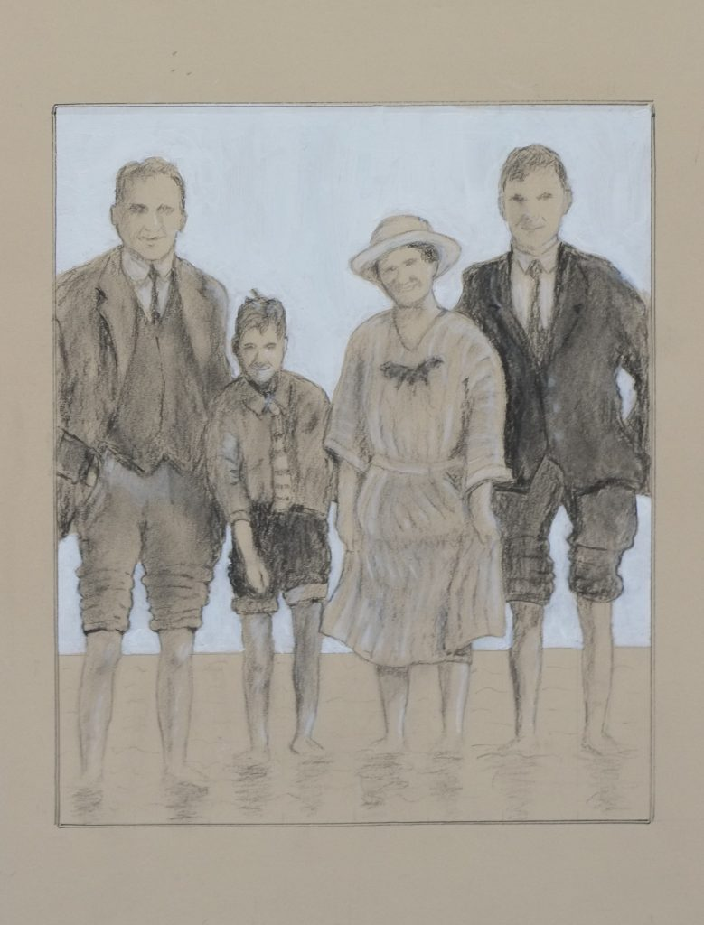 A mixed media work of a family in smart clothing, paddling in the sea