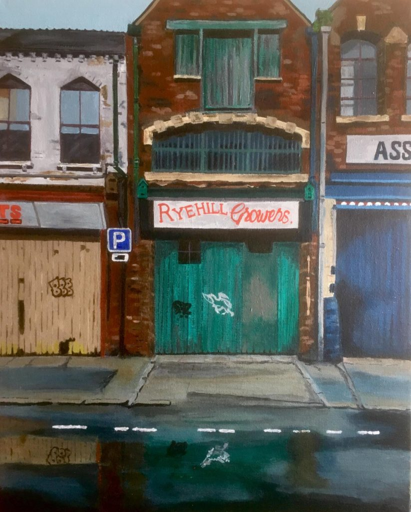 Acrylic painting of closed shop fronts
