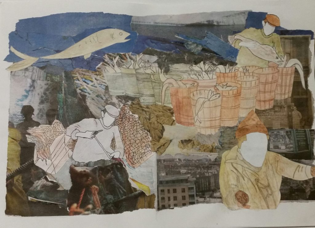 A mixed media collage work depicting a fishing scene