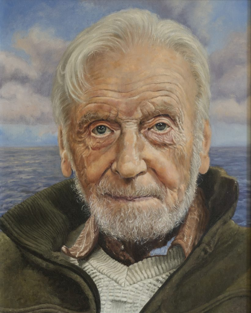 An oil painting portrait of a man in front of a seascape
