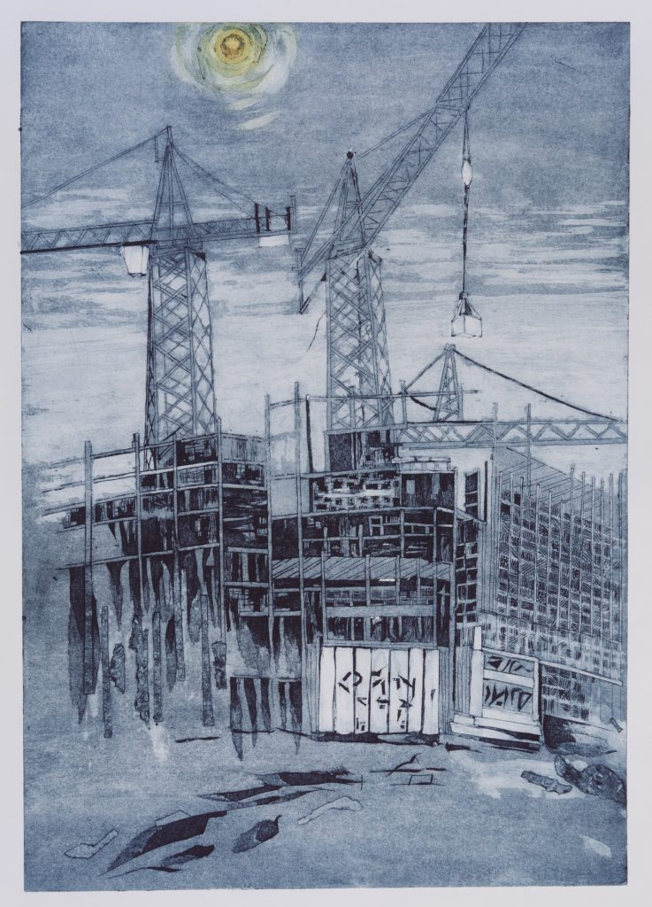 Collagraph print of an industrial scene in monochrome