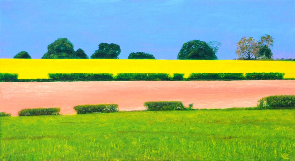 Oil painting old a wolds landscape with bright fields and blue sky