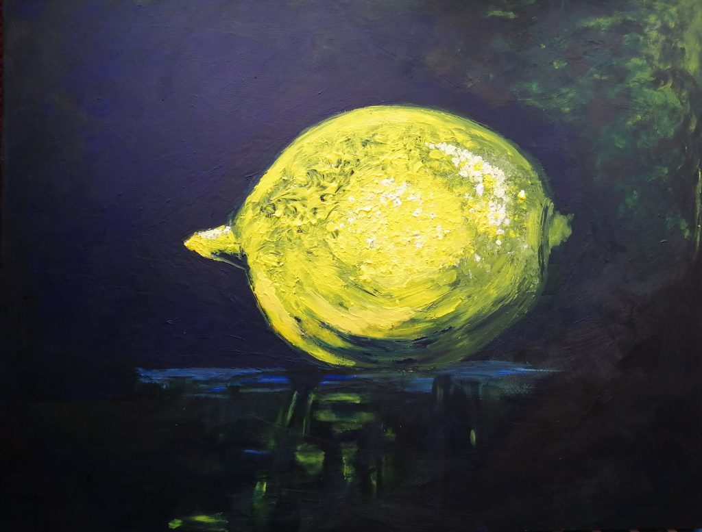 Acrylic painting of bright lemon on a dark background