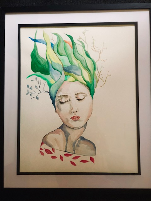 A watercolour painting of a woman with tall green hair wih leaves