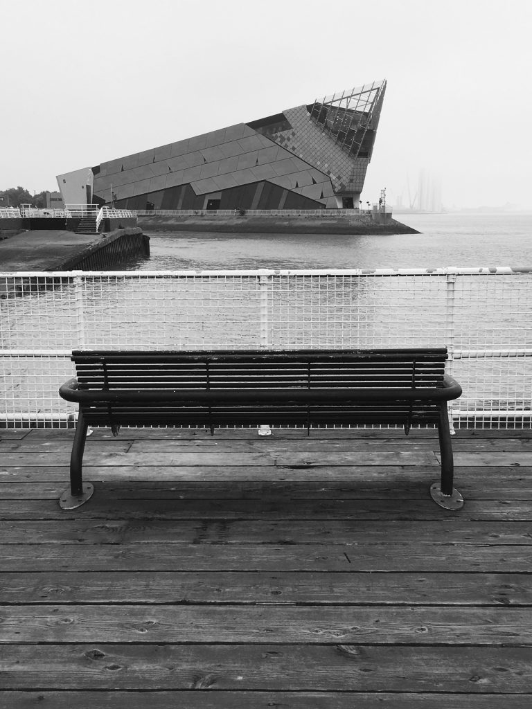 Black and white digital print of The Deep in Hull from across the water