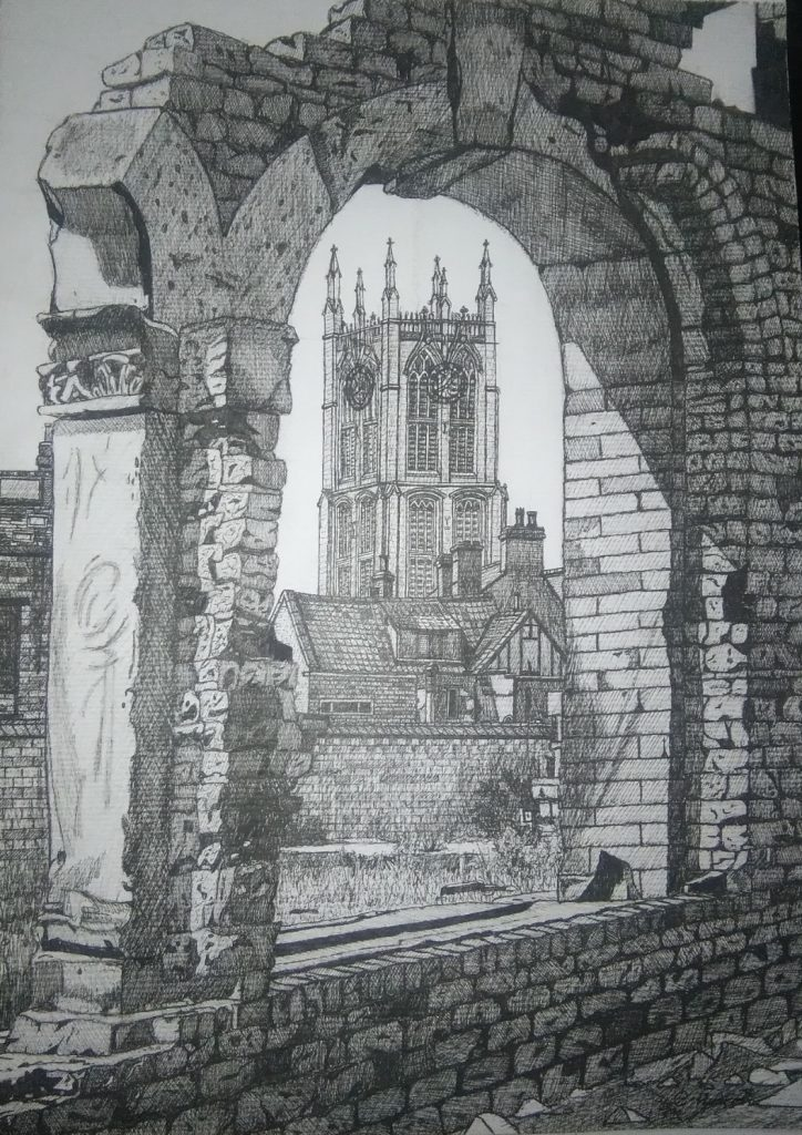 A mixed media work of a Hull scene, viewed through a brick arch