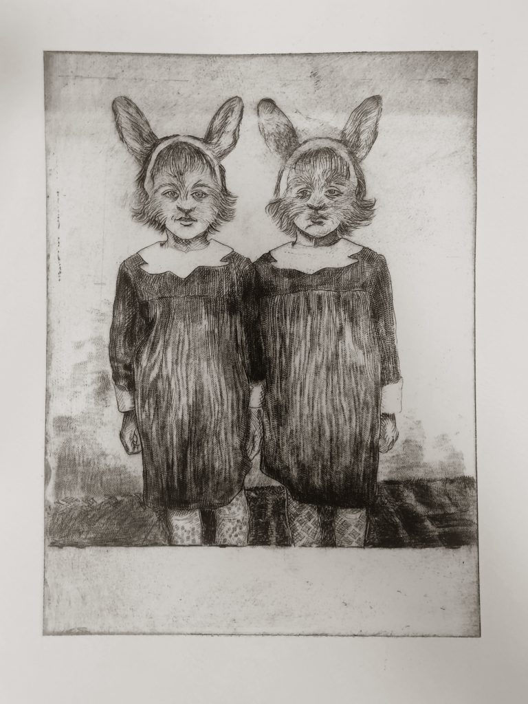 Etching of two children with rabbit ears stood together in matching dresses