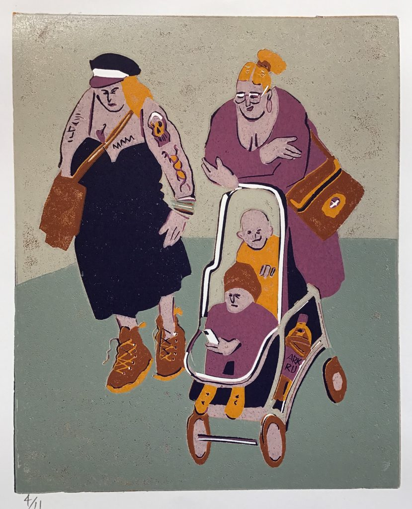 Lino print of a two women walking with two children in a pram