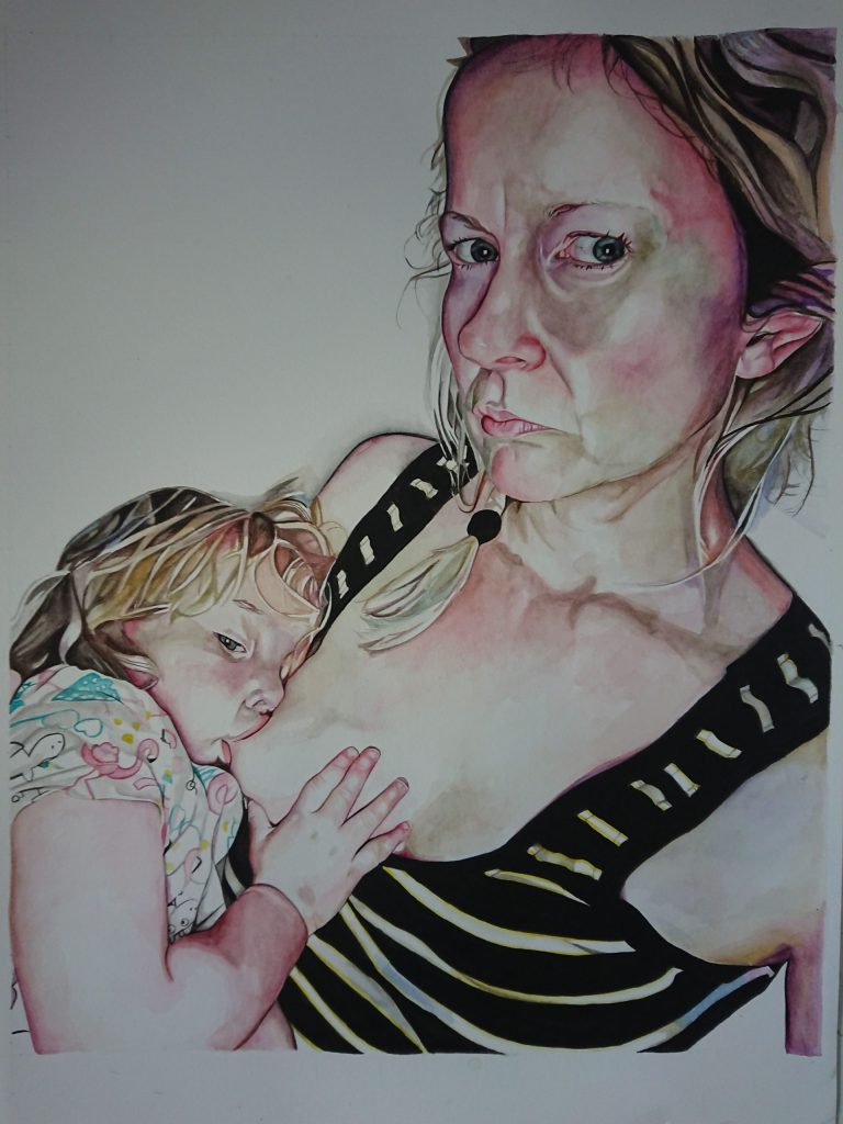 Watercolour painting of a woman breastfeeding