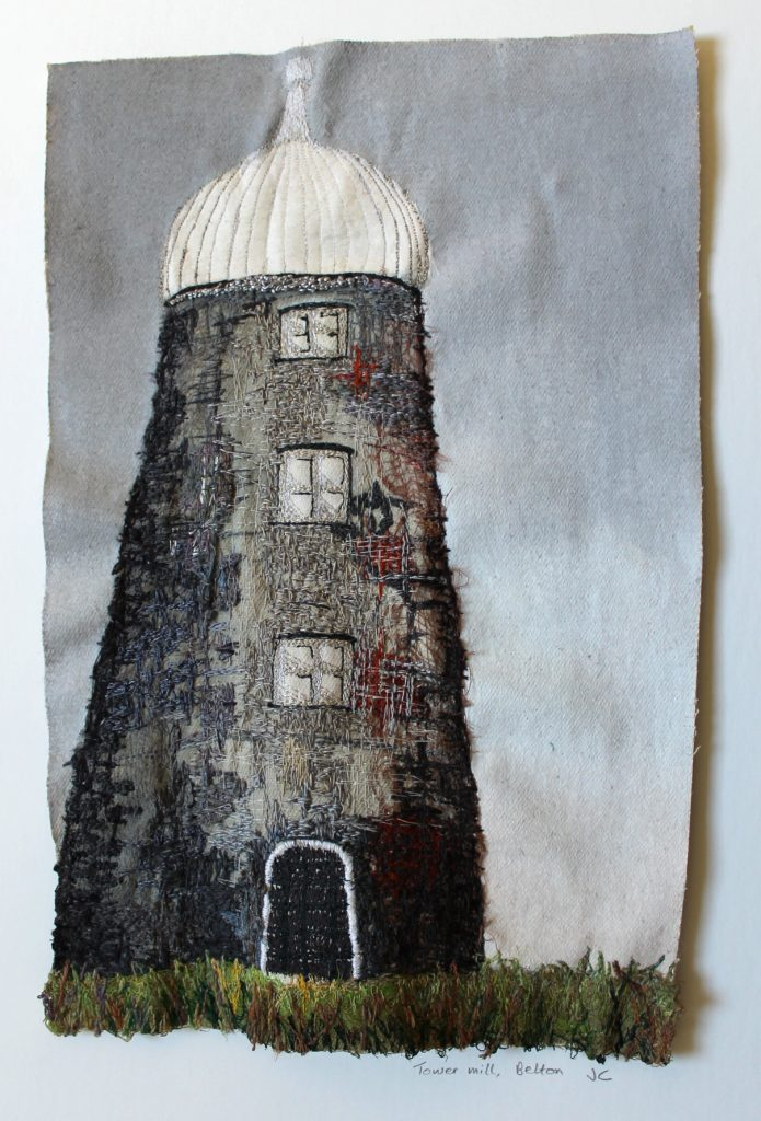 Textile work of a mill tower