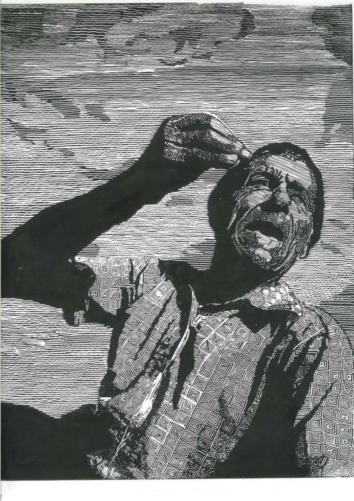 Monochrome lino print of a man talking expressively