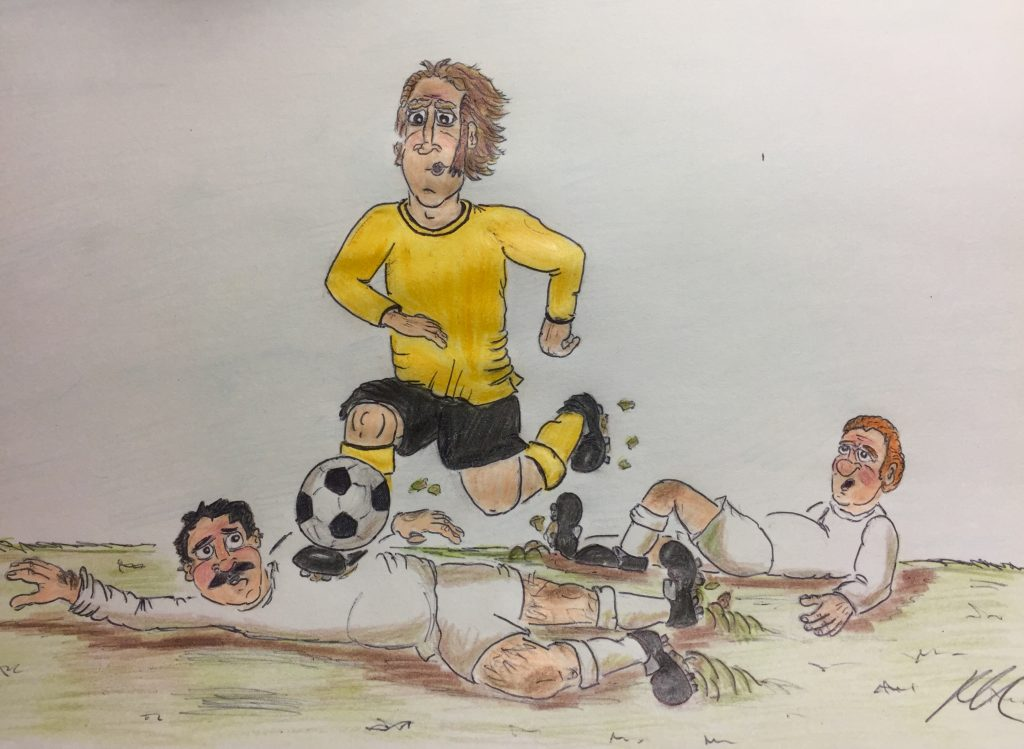 Coloured pencil drawing of a game of football