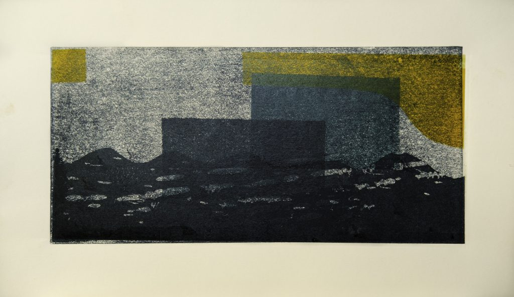 Lino print abstract landscape in blue and yellow