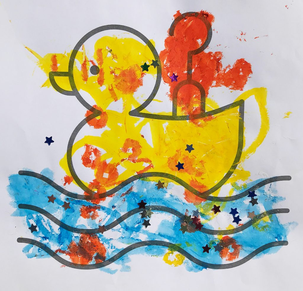 A child's drawing of a hook-a-duck