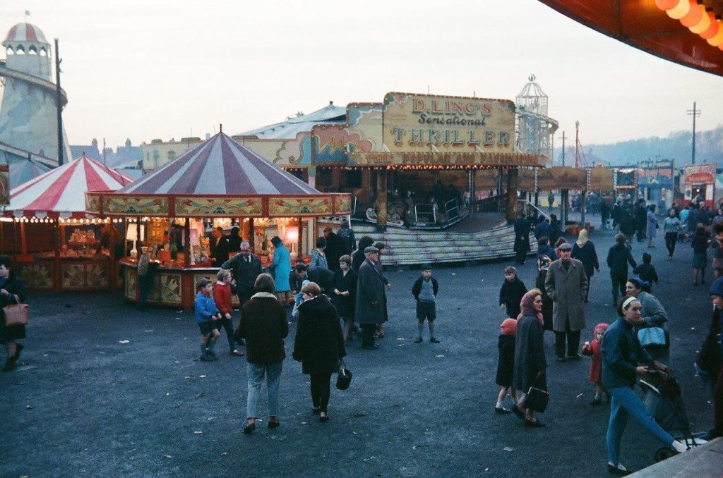 Colour photograph of Hull Fair in the 1960s