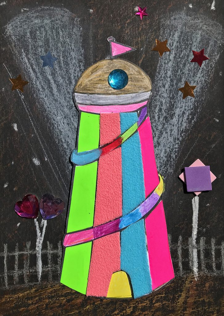 A drawing of a helter skelter.