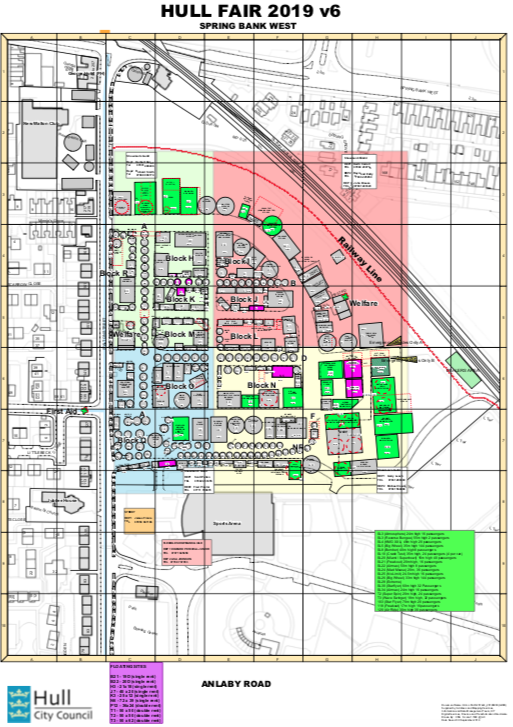 Hull City Council's map of the 2019 Hull Fair site