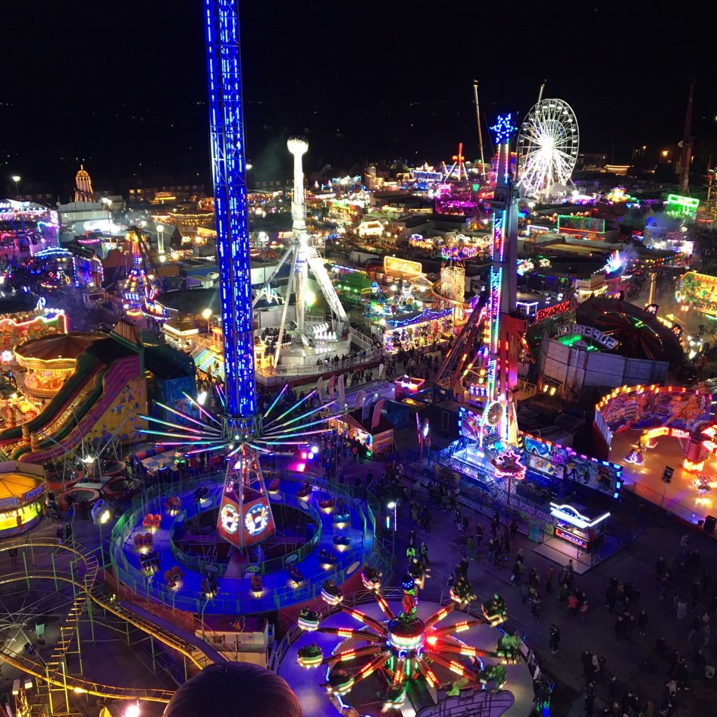 A photograph of the view from the top of the ferris wheel