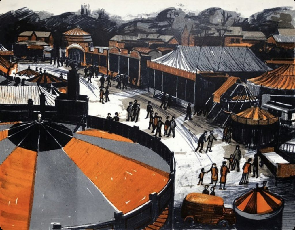Colour print of Hull Fair c. 1960 by James Arnold Martin
