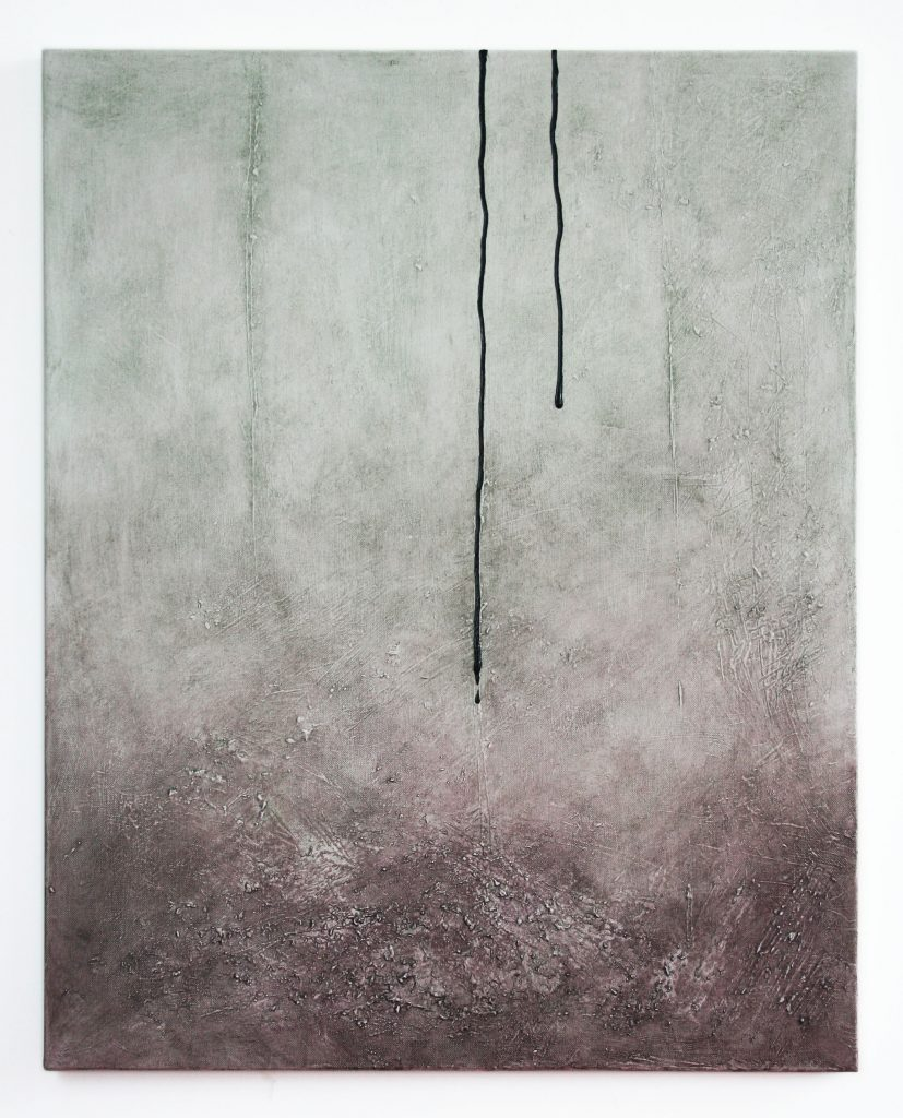 Abstract acrylic painting in neutral tones with dripping paint