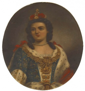 Portrait of Queen Anne in oval frame, seated in full regalia with long brown curled hair, small coronet of red silk and gold frame.