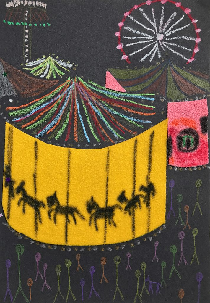 A drawing of a carousel