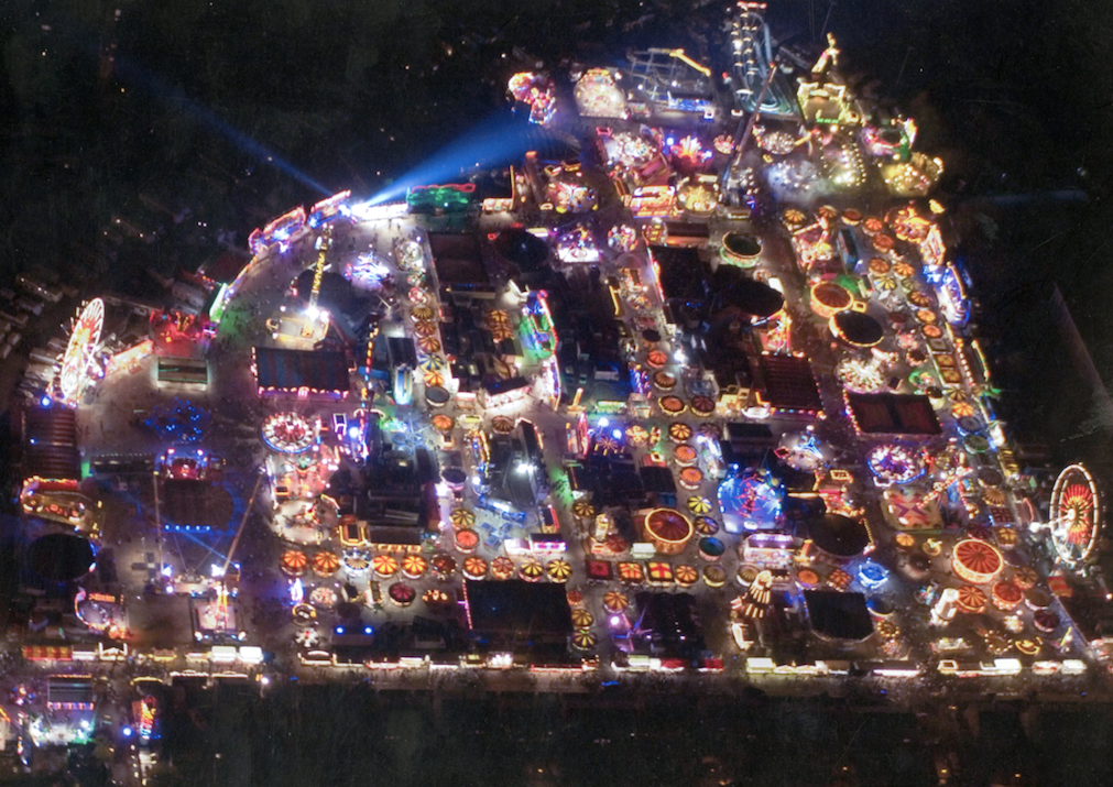 An aerial photograph of the fair at night