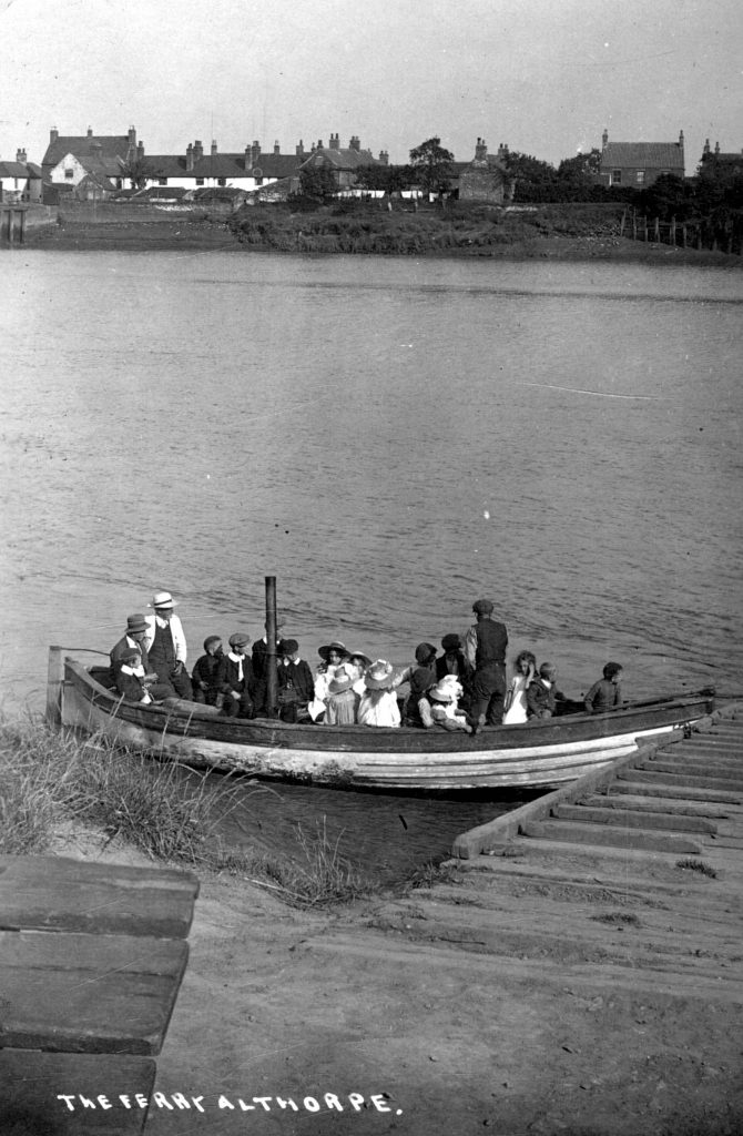 The ferry at Althorpe, about 1900