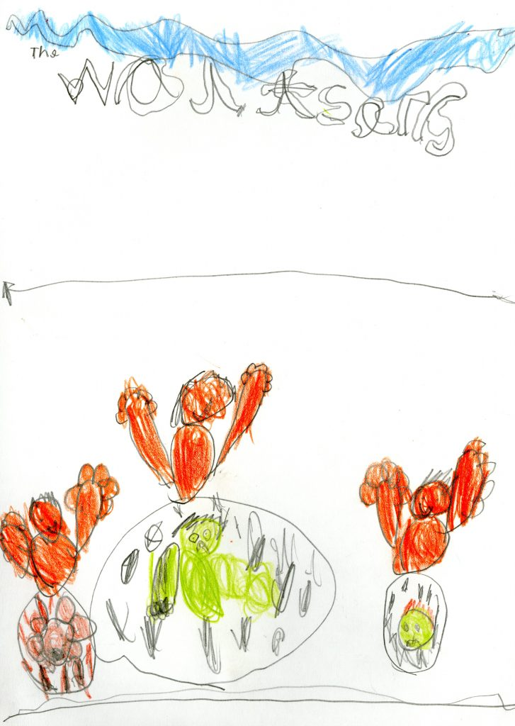 A child's drawing of people enjoying the waltzers