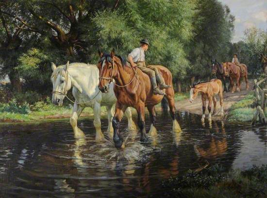 Oil on canvas realist view of two cart horses and a foal crossing a river ford. A man sits on the bay horse and looks back towards two more horses in the background, one being ridden by another man.