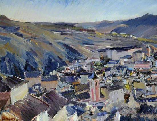 Modern tonal and expressionist painting of the Spanish hilltown of San Justo a part of the Toledo municipality, looking down from the surrounding hillsides onto the rooftops of the buildings and church towers, circled by barren mountains. Expressed in a tonal range of blue, black, red, ochre and white. Signed and dated bottom left