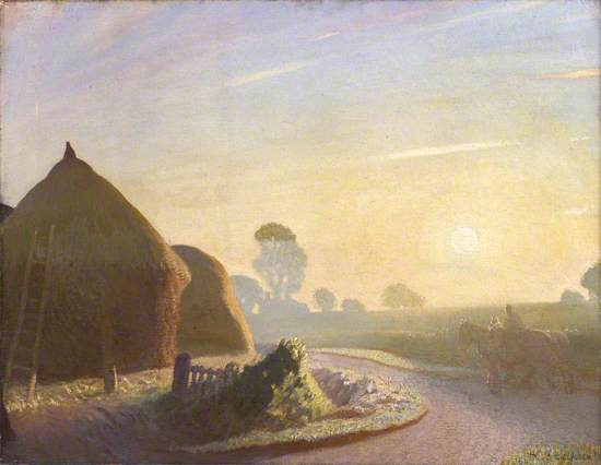 A post-impressionist style Painting. Haystacks stand to the left of the picture in shadow, one with a ladder lent against the side. In the foreground is the remains of a gate or fence. To the right is a man riding a horse, another horse walks at his side.