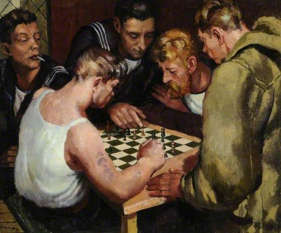 Oil on canvas showing a group seated around a table playing chess with a lattice window at the left behind the head of a young man in uniform smoking as he watches the game,another is leaning over to indicate a piece to the player on the right with blond moustache and arms crossed, the other player is stripped to his vest with tattoes down his near arm, the other side of the table is another young man watching in a duffle coat.