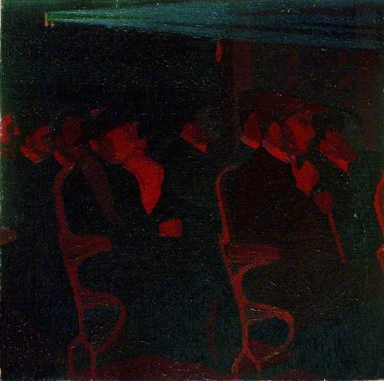 Oil on canvas showing a dark richly coloured in red of a modernist view of people sitting in rows of cinema seats with a projection light shining over their heads.