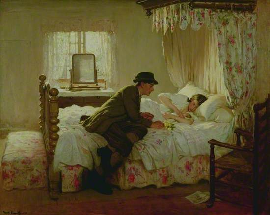 Oil on canvas showing a bedroom with a man in work clothes leaning over a woman who is lying in the bed holding a new born baby. The wooden bed has a canopy of pink flowers to match the bed linen and chest at the foot of the bed. A chair stands in the lower right of the picture and a dressing table at the back beside the open window.