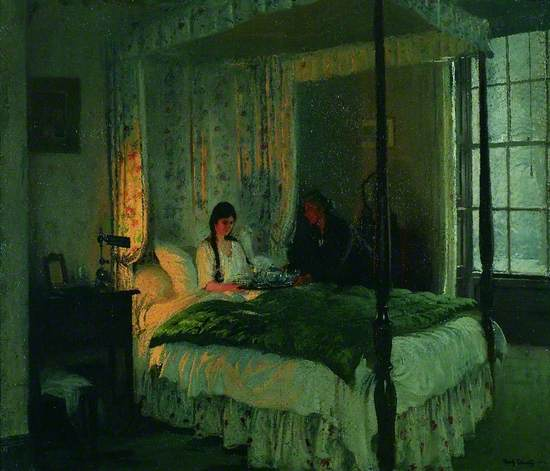 Oil on canvas of a bedroom with light coming from a casement window. A young woman sits up in a four-poster bed and an older woman stands beside her passing a tray to her containing a cup and teapot. The four-poster has a canopy which has a flowered decoration. A dark quilt lies on top of the bed.