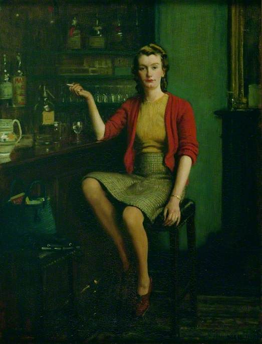 Oil on canvas portrait of a woman seated on a bar stool at a dark polished wood bar interior, dressed in 1950's style winter clothes of tweed skirt, jersey top and red cardigan, her hair is light brown in waved combed back style, she stares ahead with bright red lips and holding a cigarette in the hand of her right arm, with elbow resting on the bar with wine glass, soda syphon and coloured pottery jug, shelves of glasses and bottles of spirits above and behind the bar