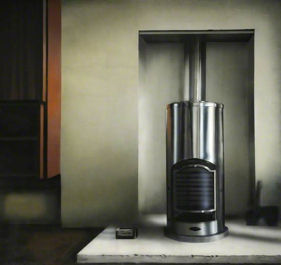 a painting of a shiny metal boiler set into a chimney breast wall. The wall is painted white.