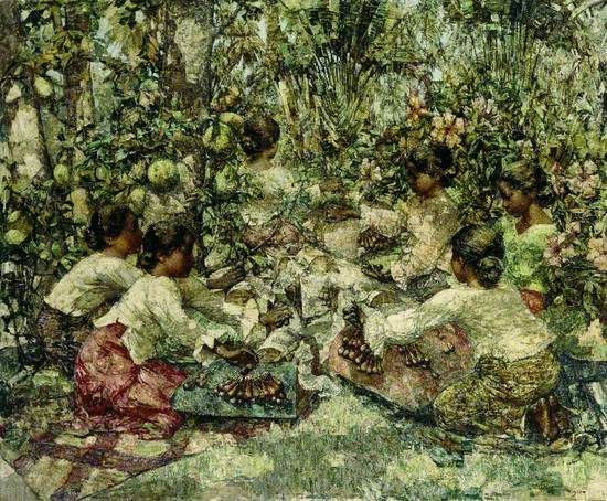 Post-impressionist view of lace makers in Ceylon seated outside in dappled light coming through tropical trees and plants, on mats with hair coiled at neck and wearing white blouses and sarongs working on central network of lace making frames.