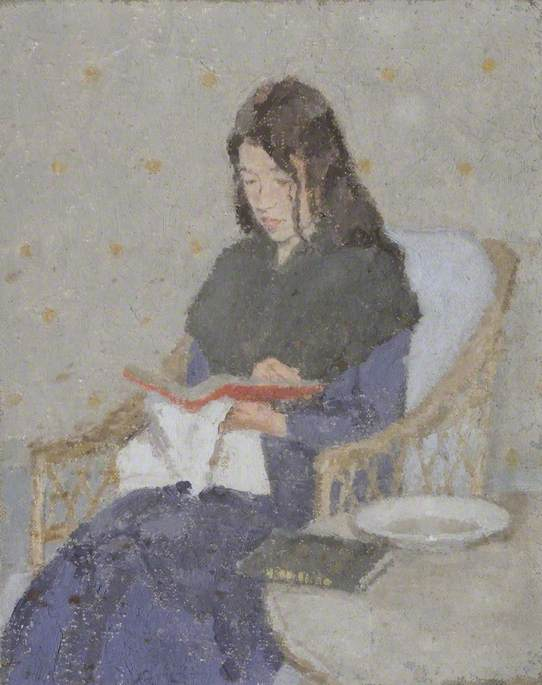Muted portrait in soft colours of young girl with long dark hair in cane chair, wearing blue dress and black shawl looking down at book in her lap, white napkin held under the book beside round table top with plate and book on it.