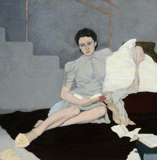 a painting of a reclining woman wearing a grey dress