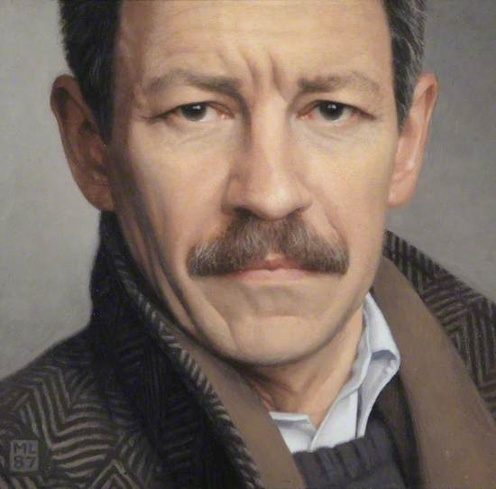 Photo realist painting of the artist, cut off before the top of the head and just below the neck, close up detail of greying hair and moustache, open shirt collar, tweed coat.