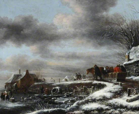 Oil on canvas Dutch genre scene of a winter landscape with horse pulling a sledge with passengers over a river bank, with other people on the road ahead pulling sledges with logs, etc. along the icy ground, snow covered rooftops of cottages.