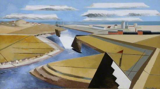 Cubist landscape with sharp diagonal lines and curves delineating the coastal marshes with houses and boats at Rye with concentrated colour and form