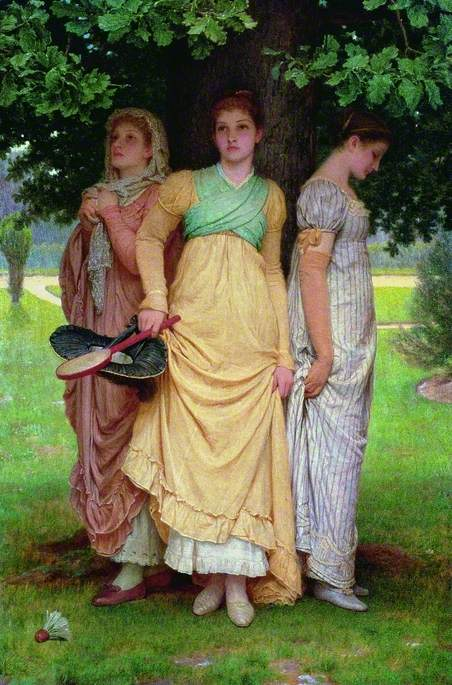 Oil on canvas neo-classical high Victorian image of three young girls standing under an oak tree to shelter from the rain. The girl in the centre wears a long yellow dress with white petticoat beneath and green folds of cloth across her chest. She holds a shuttlecock racket and hat in her right hand. The girl on the right wears a long striped dress and looks down at the ground, whilst the remaining girl on the left wears a pink dress and head covering, with red shoes. A shuttlecock lies on the ground at their feet.