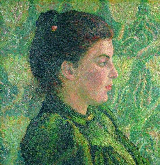 Post-impressionist, symbolist portrait of the artist's wife in green dress with dark hair worn up seated in profile against aesthetic patterned wall in brilliant green and yellow.