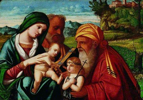 The Holy Family are depicted on the left with St. Simeon holding St. John The Baptist as an infant on the right.